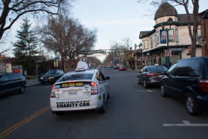 Charity cab driving in downtown Pleasanton taxi service